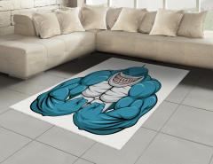 Kaslı Köpek Balığı Halı (Kilim) Mavi Hayvan