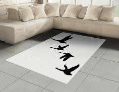 Gökyüzünde Uçan Kuşlar Halı (Kilim) Siyah Beyaz Şık