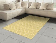 Dekoratif Yonca Desenli Halı (Kilim) Sarı Şık Tasarım