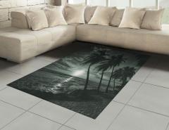 Denizde Gün Batımı Halı (Kilim) Palmiyeler Siyah