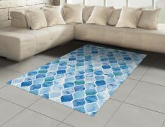 Dekoratif Fas Desenli Halı (Kilim) Mavi Şık Tasarım
