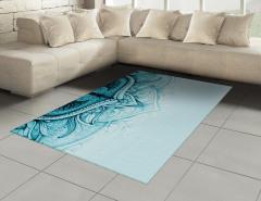 Dantel Desenli Halı (Kilim) Mavi Etnik Şık Tasarım