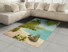 Cennet Plajında Tatil Halı (Kilim) Tropikal Ada