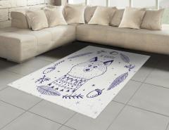 Mutlu Tilki Desenli Halı (Kilim) Karikatür Efektli