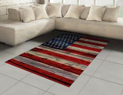 Amerikan Bayrağı Halı (Kilim) Ahşap Dokulu