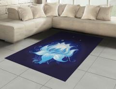 Suda Mavi Lotus Çiçeği Halı (Kilim) Dekoratif Şık