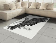 Uçan Kartal Desenli Halı (Kilim) Siyah Beyaz Şık