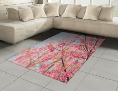 Pembe Kiraz Çiçekleri Halı (Kilim) Dekoratif Şık