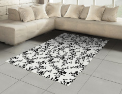 Zarif Çiçekli Desen Halı (Kilim) Siyah Beyaz Şık