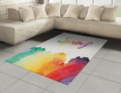 Rengarenk Bahar Coşkusu Halı (Kilim) Sulu Boya Etkili