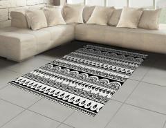 Etnik Çiçek Desenli Halı (Kilim) Siyah Beyaz Şık