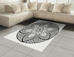 Siyah Beyaz Mandala Halı (Kilim) Dekoratif