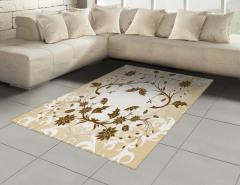 Kahverengi Şık Çiçek Halı (Kilim) Dekoratif