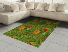 Yeşil Girdap Çiçekleri Halı (Kilim) Şık Tasarım
