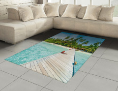 Palmiye Turkuaz Deniz Halı (Kilim) Tropikal