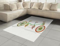 Tandem Bisiklet Desenli Halı (Kilim) Rengarenk