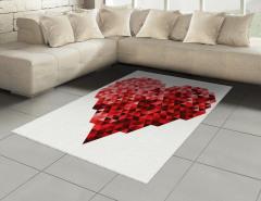 Kırmızı Kristal Kalp Halı (Kilim) Geometrik