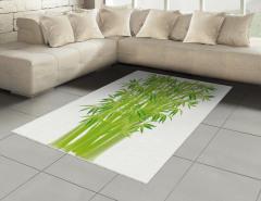 Şık Bambular Desenli Halı (Kilim) Yeşil Doğa
