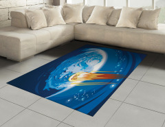 Meteor ve Mavi Dünya Halı (Kilim) Uzay