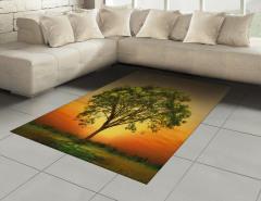Gün Batımında Ulu Ağaç Halı (Kilim) Yeşil Doğa