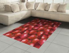 Dekoratif Çilek Desenli Halı (Kilim) Kırmızı