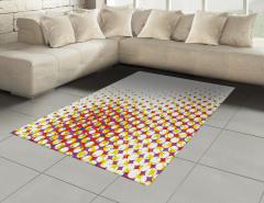 Renkli Geometrik Şekil Halı (Kilim) Şık Retro