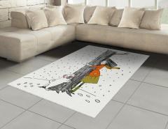 Kız Köpek ve Ağaç Halı (Kilim) Dekoratif Şık