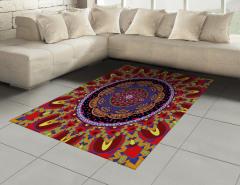 İç İçe Renkli Mandala Halı (Kilim) Geometrik