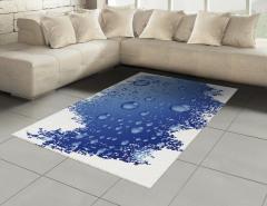 Mavi Yağmur Damlaları Halı (Kilim) Dekoratif