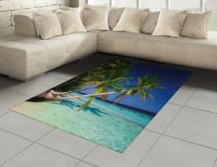 Denize Uzayan Palmiye Halı (Kilim) Turkuaz Deniz