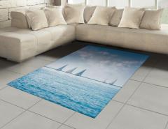 Durgun Denizdeki Yelkenli Yarışı Halı (Kilim) Mavi