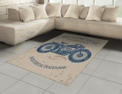 Nostaljik Motosiklet Desenli Halı (Kilim) Lacivert
