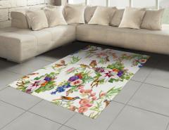 Sulu Boya Çiçek Desenli Halı (Kilim) Kuş Çeyizlik