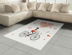 Kalpler ve Bisikletli Kız Halı (Kilim) Kırmızı Beyaz