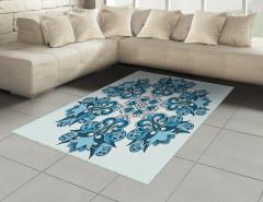 Mavi Etnik Çiçek Desenli Halı (Kilim) Dekoratif