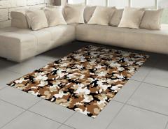 Kamuflaj Desenli Halı (Kilim) Kahverengi Beyaz Siyah