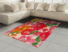 Sulu Boya Çiçekler Halı (Kilim) Kırmızı Turuncu Sarı