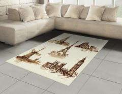 Nostaljik Tarihi Eserler Halı (Kilim) Kahverengi