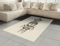 Süslü Kuru Kafa Desenli Halı (Kilim) Siyah Beyaz