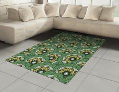 Yeşil ve Sarı Çiçekler Halı (Kilim) Şık Tasarım