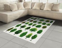 Orman Ağaçları Desenli Halı (Kilim) Yeşil Dekoratif