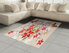 Kelebekli Çiçekli Desen Halı (Kilim) Dekoratif Şık