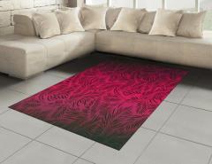 Dekoratif Yaprak Desenli Halı (Kilim) Kırmızı Siyah