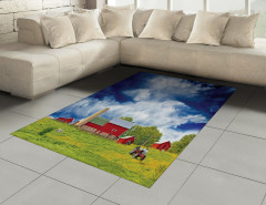 Amerikan Çiftliği Halı (Kilim) Bulutlu Gökyüzü Ağaç