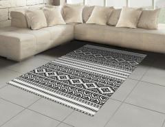 Aztek Desenli Halı (Kilim) Siyah Beyaz Geometrik