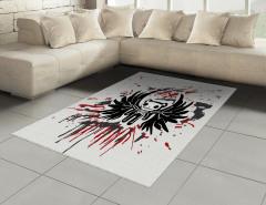 Kuru Kafa Teddy Desenli Halı (Kilim) Siyah Kırmızı