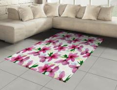 Pembe Kiraz Çiçeği Desenli Halı (Kilim) Çeyizlik Şık