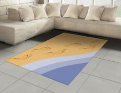 Kumdaki Ayak İzleri Desenli Halı (Kilim) Deniz Tatil