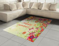 Gökkuşağı Çiçek ve Kelebek Halı (Kilim) Şal Desenli