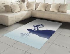 Nehir Kıyısındaki Yalnız Ağaç Halı (Kilim) Dekoratif